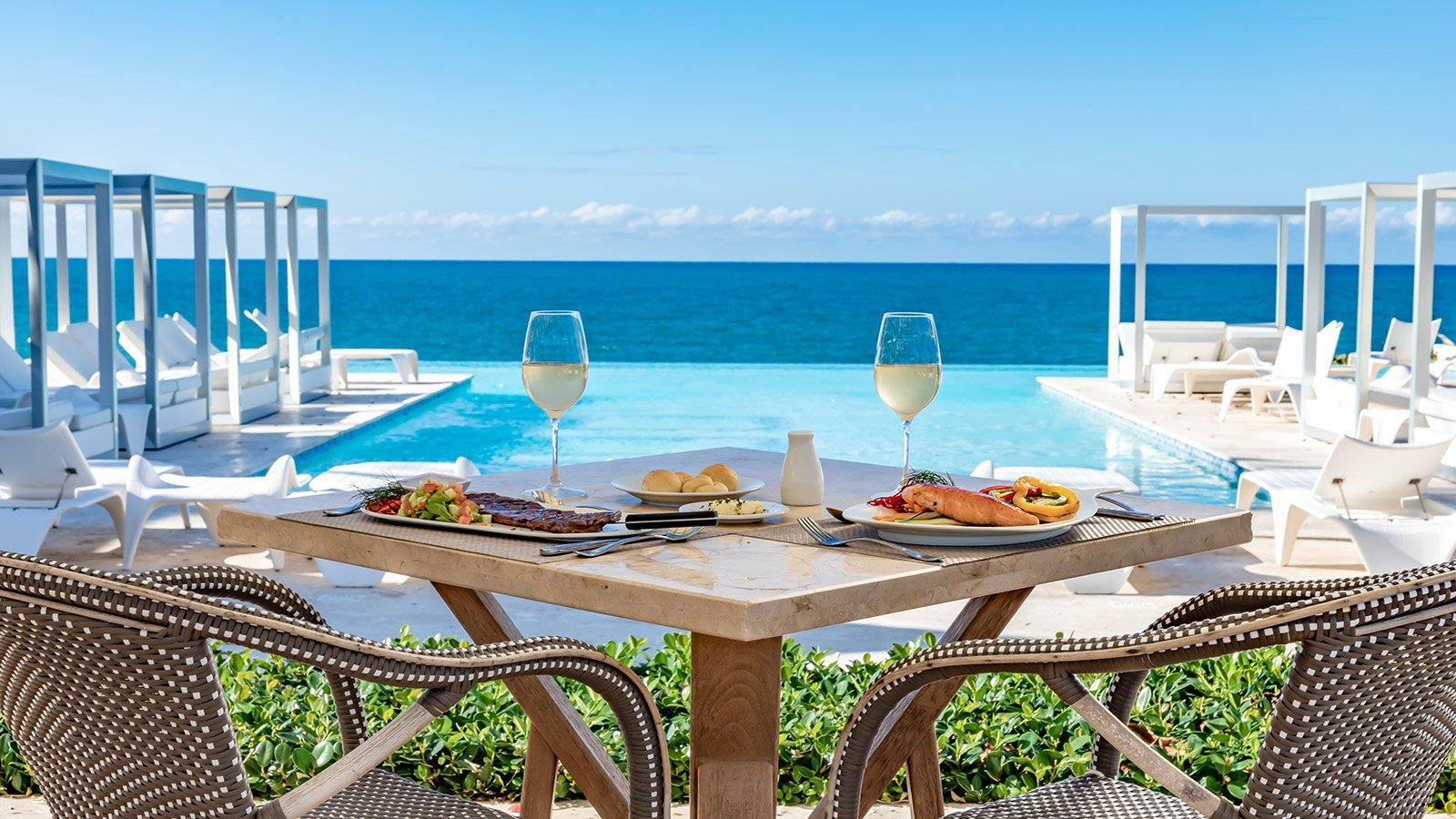Oceanfront restaurant table