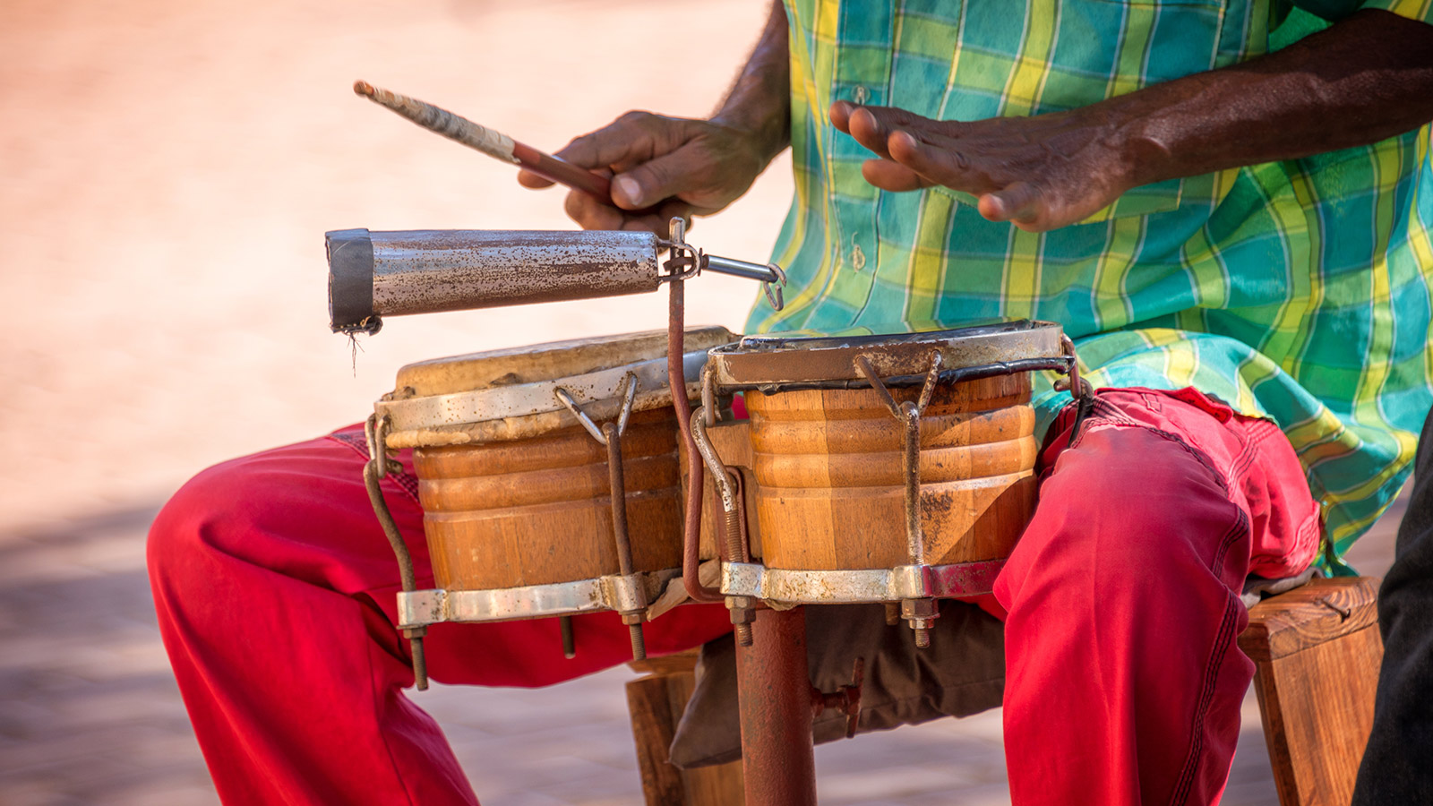 Street musician playing drums
