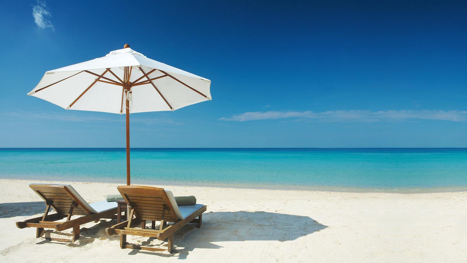Beach chairs on a sunny beach