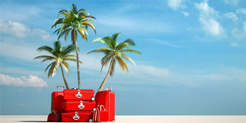red luggage stacked on the sand in front of palm trees