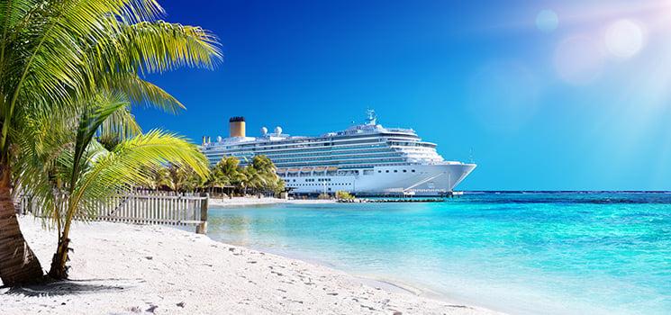 Cruise ship by beach