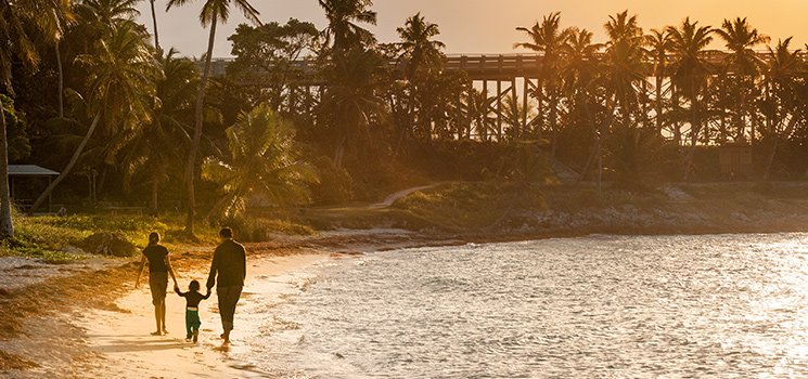 Family walking beach in Florida