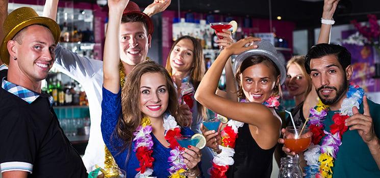 Singles partying at bar